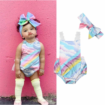 Newborn Baby Girls Clothes Summer Rainbow Bodysuits Bow Headband Lace Belt Backless Bodysuits Baby Kid Jumpsuit Outfit 0-24M New