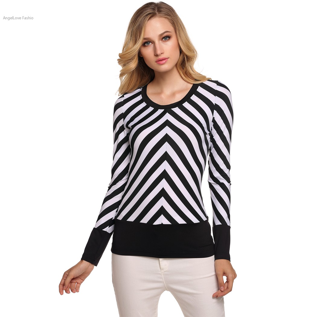 Black and white striped t shirt xxl - Stylish Ladies Women T Shirt Black White Striped Long Sleeve Tops Slim Casual Outwear Top Tees Plus Size S Xxl T Shirt Feminina