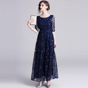 Image 5 - Borisovich 女性イブニングパーティーロングドレス新ブランド 2019 春イングランドスタイルの豪華な刺繍エレガントな女性マキシドレス N726