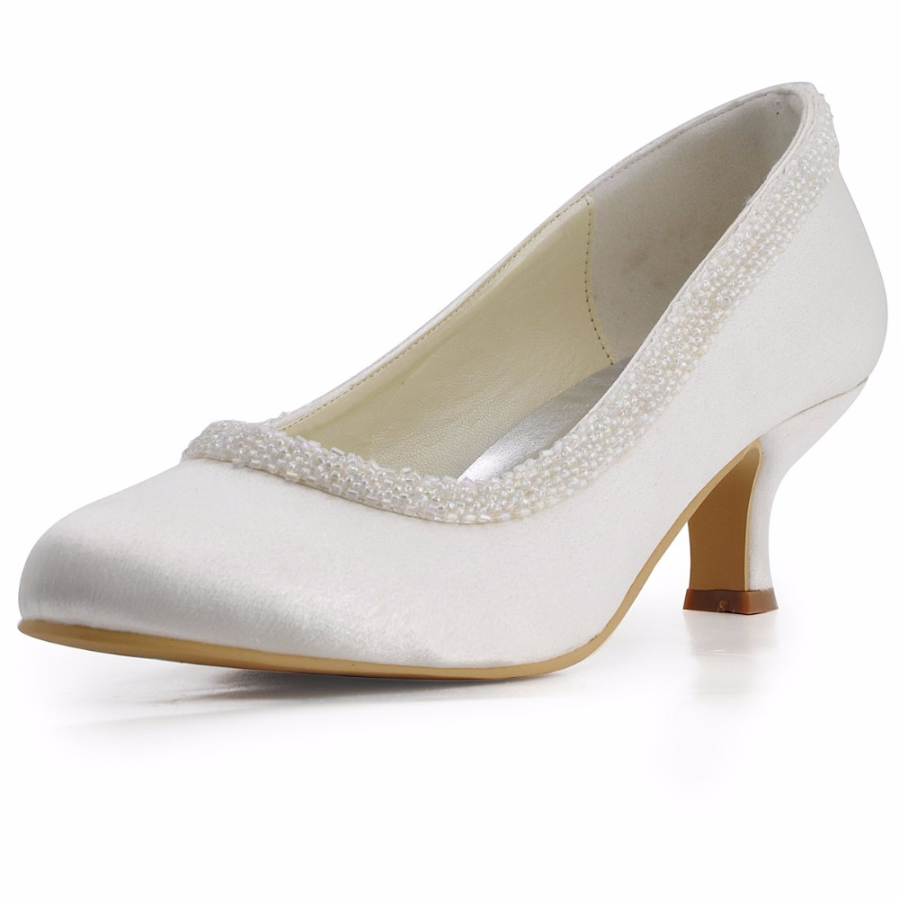 EL-005CC Woman Ivory Size 36 37 Beading Mid Heel wedding shoes Comfort Satin  Ladies 5462f19240d3
