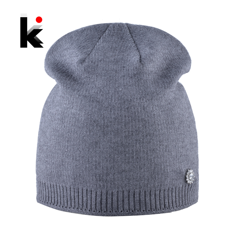 3570856fcea Detail Feedback Questions about Soft Knitted Wool Beanies Ladies elegant  Solid Color Hat With Rhinestone Accessories Autumn Winter Caps Women Double  Lining ...