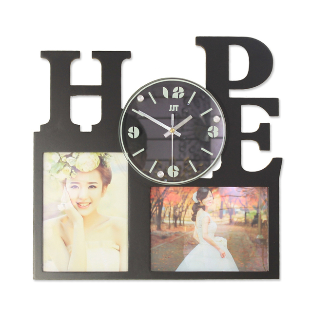 beautiful creative home decoration art craft 3d wall clock with wooden photo frame for gift