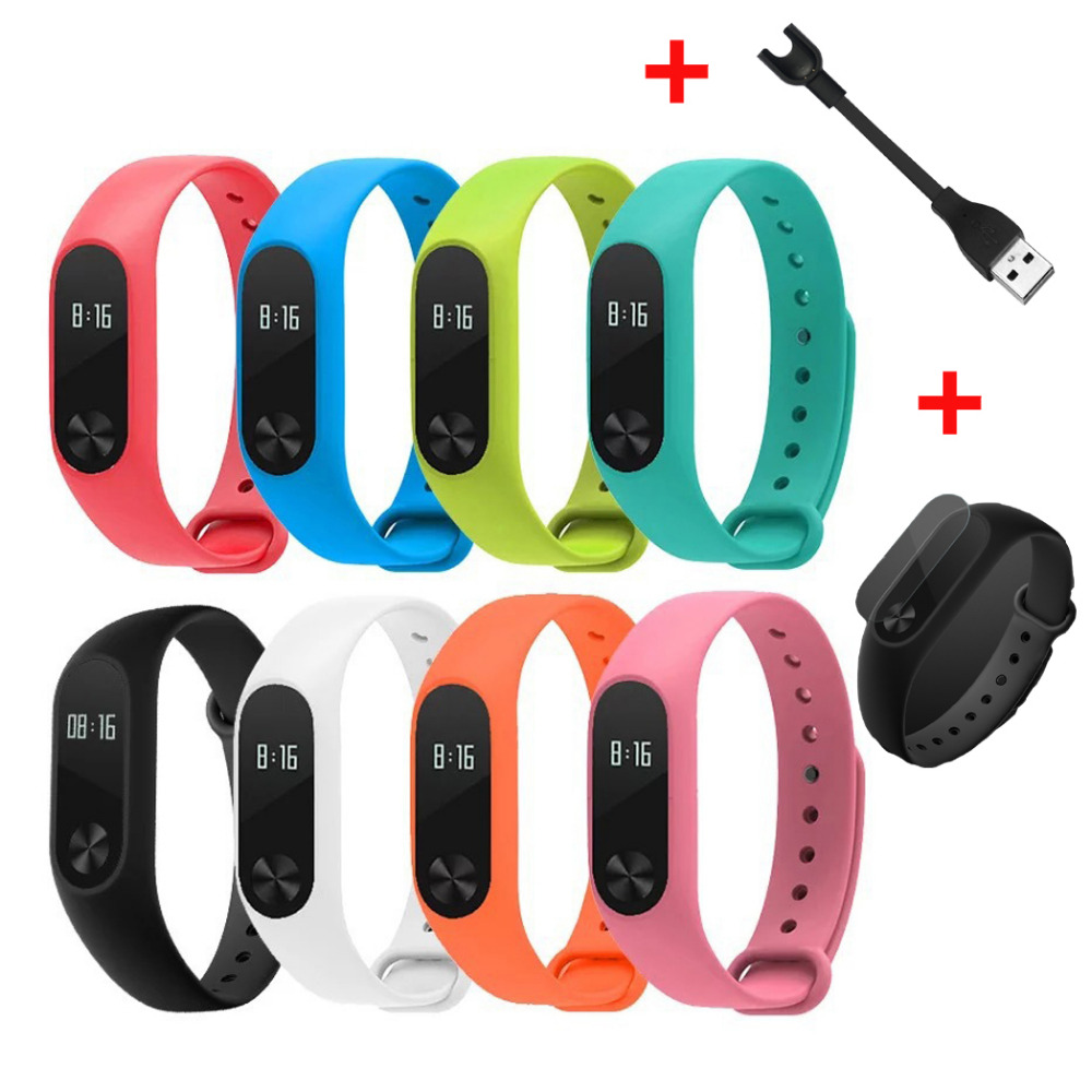 Hot Replace Strap charger screen protector for Xiaomi Mi Band 2 MiBand 2 Silicone Wristbands for