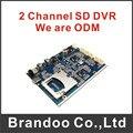 Recién llegado de 2 canales CCTV DVR placa principal, módulo del DVR del coche de BRANDOO