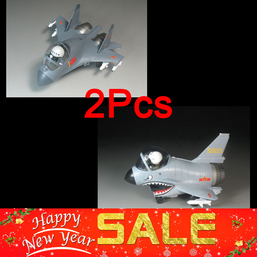 2/Pcs Q Versin Egg Plane Assembly Airforce Model Building Kits Aircraft Series Chinese Air Force J-10 J-11 Fighting Falcon