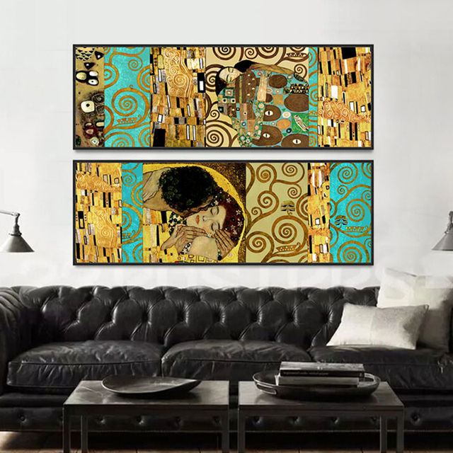 Artists Gustav Klimt Kiss Home Wall Art Poster Painting Posters Prints Canvas