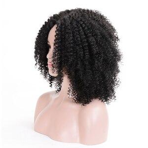 Image 3 - MSIWIGS peluca sintética corta rizada para mujer, pelo marrón Natural Afro, africano, americano, de fibra de alta temperatura, negro