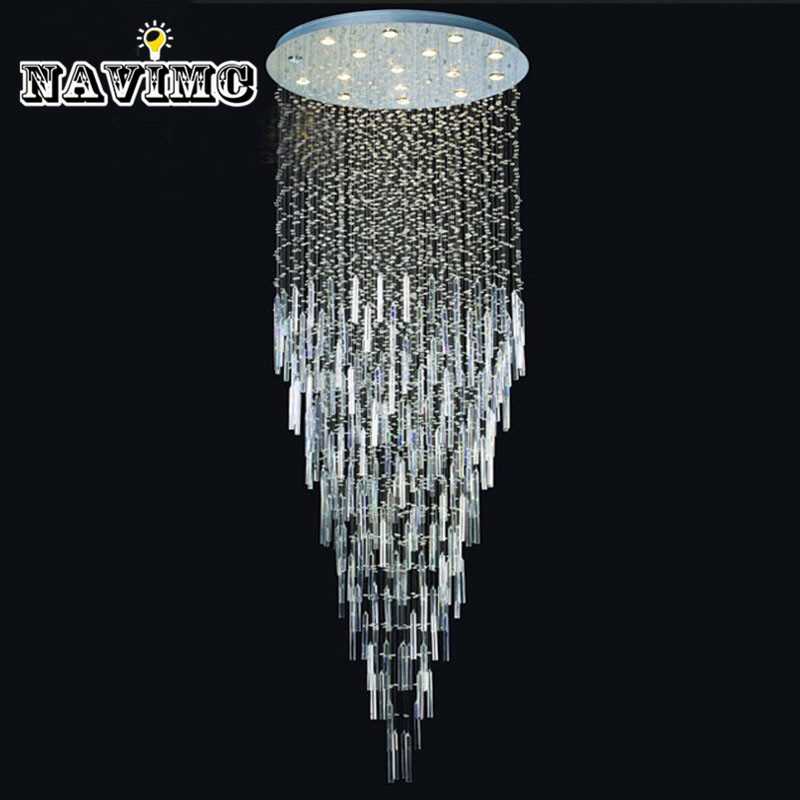 Modern Led Hotel Project Crystal Chandelier For Foyer Dia500*2000mm Ac Staircase Lamp Large Pending Dining Room Light Fixture