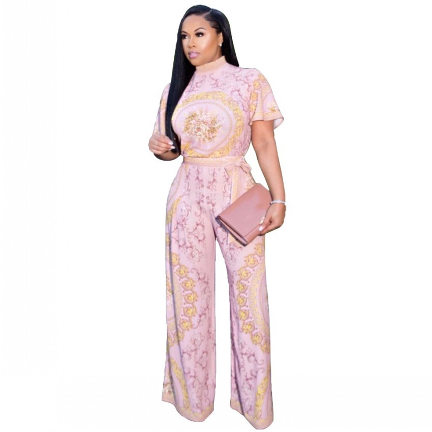 African Sets For Women New Flower Print African Elastic Bazin Baggy Pants Rock Style Dashiki Sleeve Famous Suit For Lady
