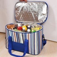 35L Large Capacity Cooler Bags Oxford Striped Bags For Women Kids Family Picnic BBQ Thermal Bag Takeaway Big Bag