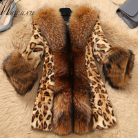 Wmwmnu 2017 Winter Winter Women Sexy Leopard Print Faux Fur Coat Luxurious Slim Warm Fox Fur