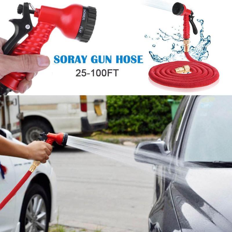 Hoses-Pipe Expandable Spray-Gun Watering Garden-Hose Magic Flexible Plastic 25FT-100FT