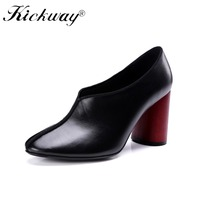 Womens Thick High Heel Pumps Women s Shoes Wooden Heels Red Round Heel Shoes Black Concise Genuine Leather Shoes Women Heels