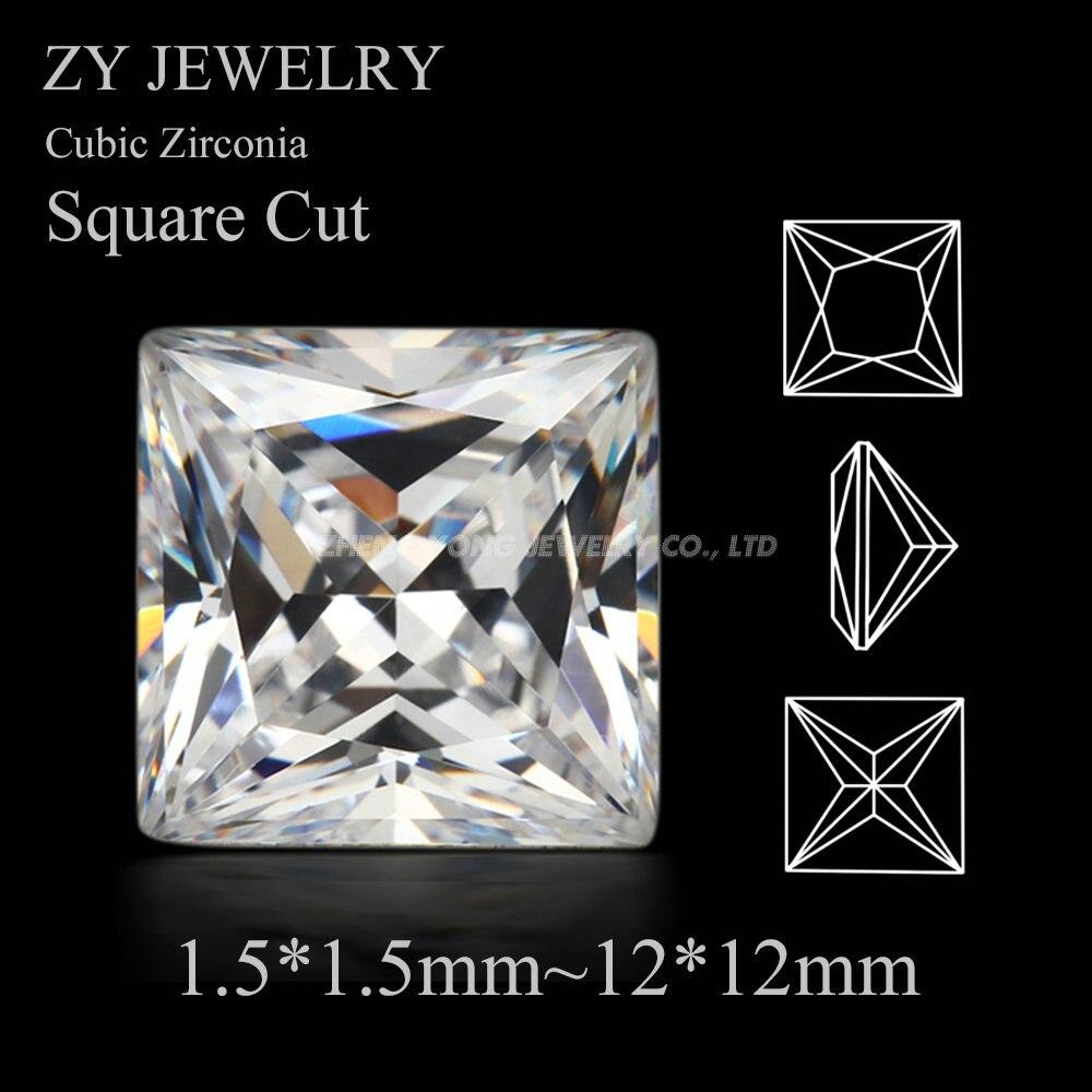 50pcs/lot 5A CZ Stones 1.5*1.5mm~12*12mm Princess Cut White Cubic Zirconia Square Shape Synthetic Gems CZ Stone For Jewelry