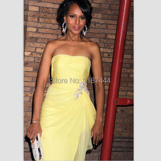 15eb5b96b6c17 Kerry Washington light yellow prom dress 2011 Glamour women of the year  awards red carpet evening gown celebrity dresses-in Celebrity-Inspired  Dresses from ...