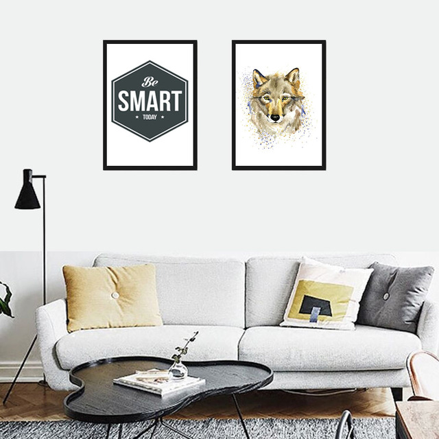 Nordic Home Decor Be Smart Today Wolf Mural Frameless Posters Wall Art Painting Picture Canvas Prints
