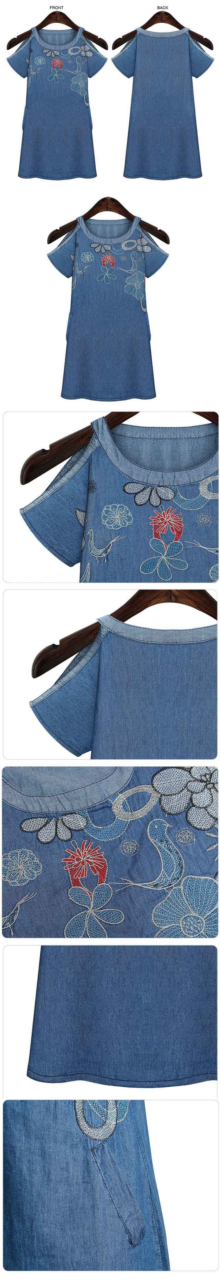 Owlprincess Floral Embroidery Front Denim Jean Dresses Summer (3)