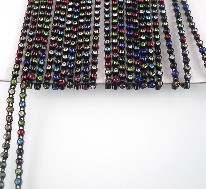 79b71b9c0c US $1.99 |SS6 A grade colorful crystal glass 2mm rhinestones black plastic  cup garment shoes hat wedding decorations banding chain 2yards-in ...