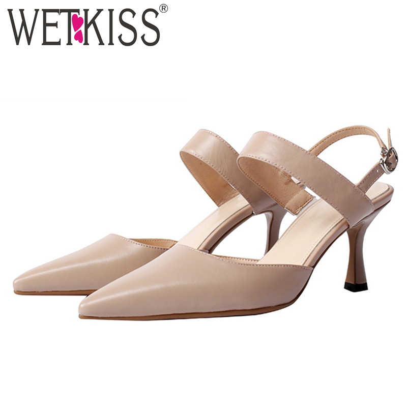 WETKISS Ankle Strap Women Sandals Pointed Toe Footwear Fashion High Heels Female Sandals Genuine Leather Shoes
