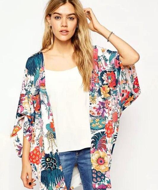 2017 Summer Women Kimono Cardigan Blouse Fashion Cherry blossoms ...