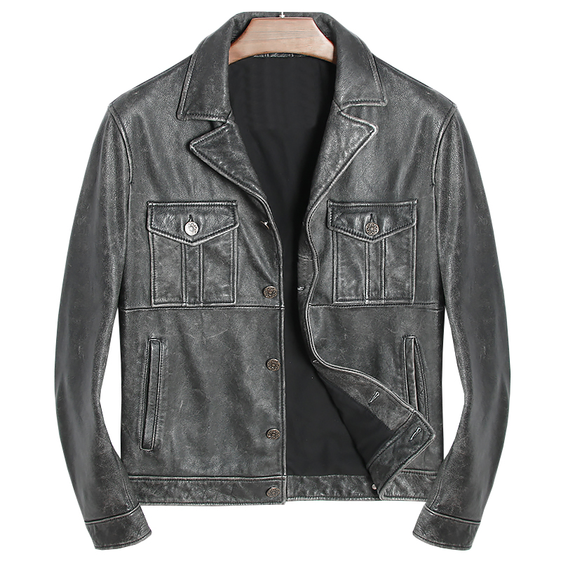 La Poitrine Taille En Vintage Cuir Quetsche Noir Rétro Motard Slim Manteau 3xl Peau Vache Unique Véritable Veste Plus De Fit Black Harley Hommes 2IeDH9YbWE