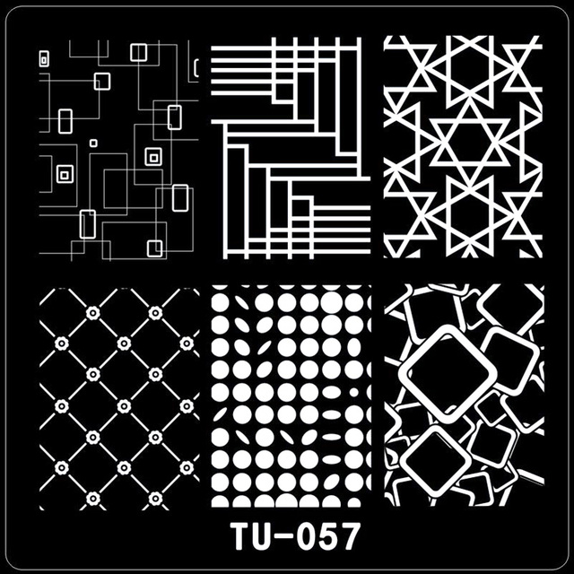 Square Nail Stamping Plates Geomatrical Pattern Triangle Spot Art Stamp Template Image Plate Stencils Tu57