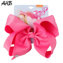 AHB Solid 8 Inch Large Hair Bows for Girls Grosgrain Ribbons Clips Barrettes Kids Handmade Hairgrips Accessories