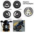 """7 """"adaptive farol da motocicleta levou faróis projetor rodada drl estacionamento lamp ligue luz de sinalização para harley moto acessórios"""