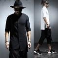 2017 Harajuku Brand Fashion Dress Mens Linen Shirts Slim Fit Designer Blouse Men Casual Shirt Short Sleeve Overhemd Heren Black