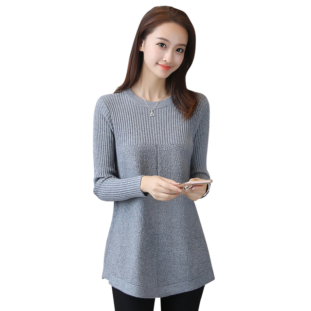 Women's Sweater 2018 New Fashion O Neck Long Sleeve Pullover Knit Sweater Women's Clothing Loose Autumn Winter Women's Tops Y57