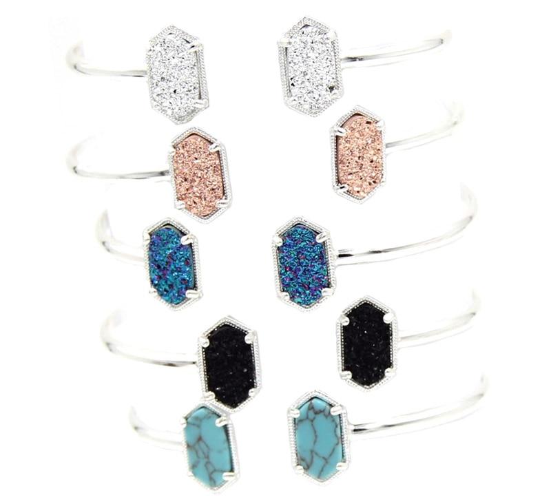 Hot Sale Small Oval Druzy Stone Bracelets For Women Gift Bangle Fashion Jewelry Wholesale
