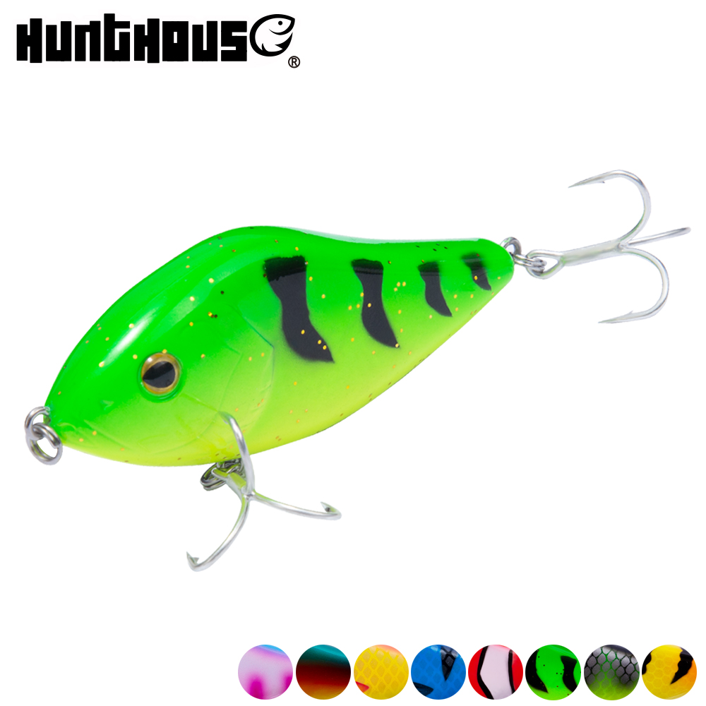Hunthouse fishing lure pencil VIB jerkbait 7cm/17g 10cm/47g stickbait with VMC hook rainbow color for fishing bass pesca leurre-in Fishing Lures from Sports & Entertainment