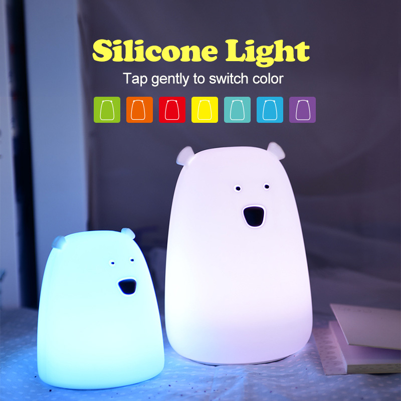 Colorful Bear Silicone LED Night Light Chargeable Battery Touch Sensor light 2 Modes Children Baby Kids Night Lamp Bedroom Light desk night lights baby room colorful cat silicone led night light rechargeable touch sensor light 2 modes children kids bed lamp