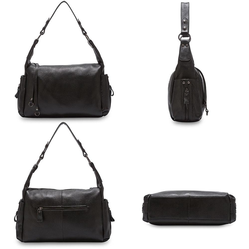 Zency Hobos ขนาดเล็ก 100% ของแท้หนังผู้หญิงไหล่กระเป๋า Charm สีม่วงกระเป๋าถือแฟชั่น Crossbody สีดำกระเป๋า-ใน กระเป๋าสะพายไหล่ จาก สัมภาระและกระเป๋า บน   3