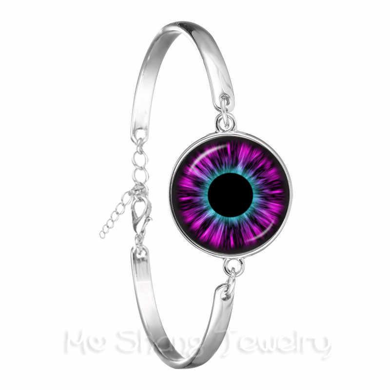 """Злой Дракон глаз браслет новая мода живой цветной """"кошачий глаз"""" стеклянный кабошонный купол серебряное покрытие ручной работы браслет для женщин ювелирные изделия"""