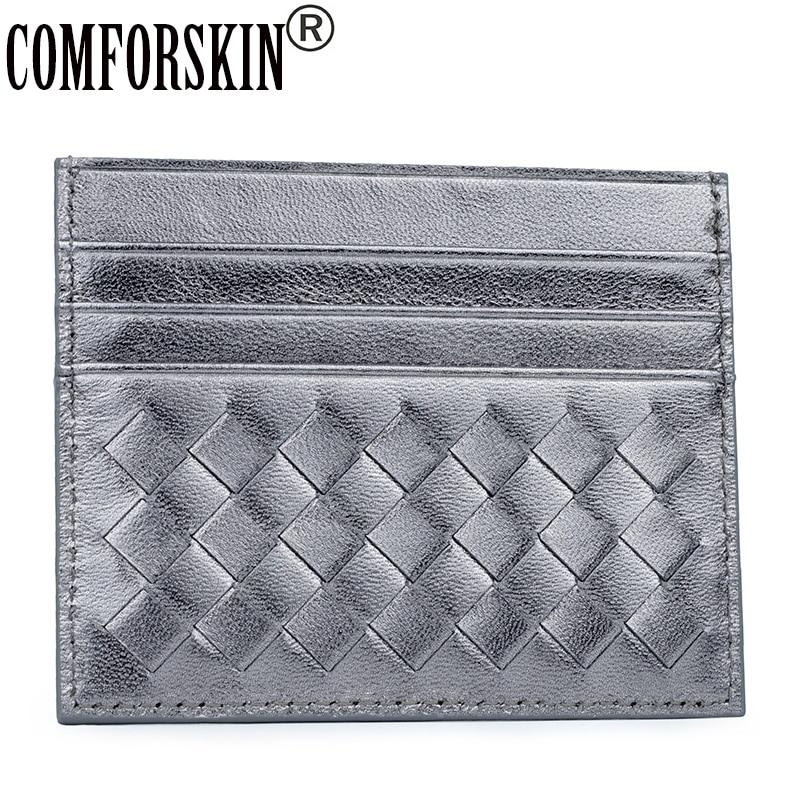 COMFORSKIN Marque Design Luxueux 100% Moutons Peau ID Carte Détenteurs De Crédit Garanti Véritable Carte En Cuir Cas Mini Porte-Monnaie