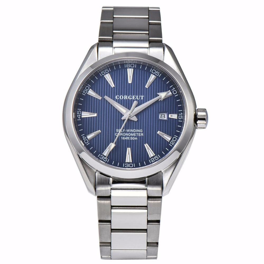 41 MM Corgeut szafirowy kryształ świecenia mechaniczny automatyczny zegarek męski niebieski dial ze stali nierdzewnej bransoletka zegarek w Zegarki mechaniczne od Zegarki na  Grupa 2