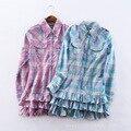 Новые девушки рубашка хлопка плед брюки с длинными рукавами кардиган случайный стиль моды специальное предложение бесплатная доставка
