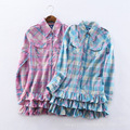 New girls shirt cotton plaid pants long sleeved cardigan casual fashion style special offer free shipping