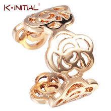 Kinitial Gold Silver Open Rings Rose Flower Shape Fashion Elegance Finger Rings Bijoux Wedding Mother Day's Gifts Jewelry(China)