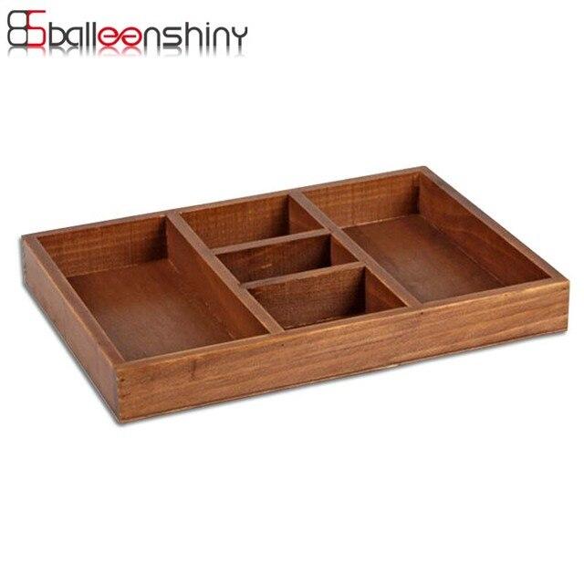 Tablett Holz balleenshiny holz box kosmetik organizer sundries tablett