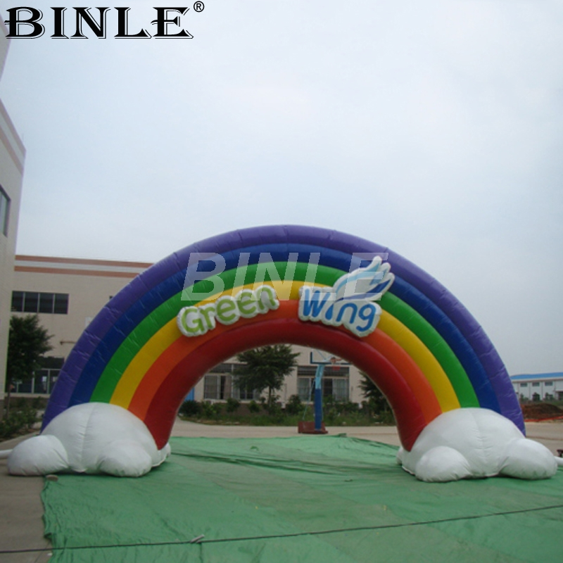2018 new arrival best airblown large inflatable rainbow arch with clouds balloon archway door gate for event