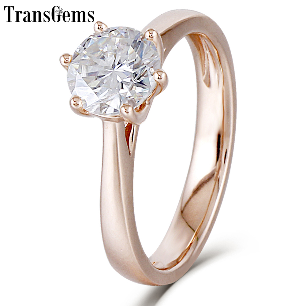 Transgems Center 1ct Rose Gold Engagement Ring Women 10K Rose Gold 1 Carat 6.5MM F Color Moissanite Diamond Ring for Wediing helon solid 18k 750 rose gold 0 1ct f color lab grown moissanite diamond bracelet test positive for women trendy style jewelry