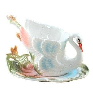Image 3 - 에나멜 커피 머그잔 차 컵 접시 스푼 세트 Procelain 크리 에이 티브 Drinkware 애인 선물