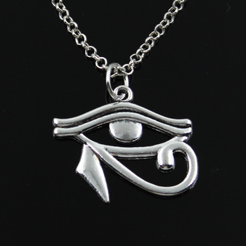 New Fashion Ancient Egypt Eye Of Horus Pendants Round Cross Chain Short Long Mens Womens Silver Color  Necklace Jewelry Gift 1
