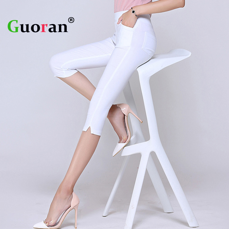 {Guoran } Women   Capris   Pencil   Pants   Candy Color Skinny Cotton Leggings Plus Size 3XL High Waist Summer Trousers 2017 White Black