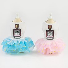 Pet Spring Summer Short Sleeves Skirt, Small & Medium Dogs Bubble Cute Costume Dress Simple Top with Funny Bottle Pattern(China)