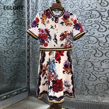 2019 Spring Summer Hot Sale Dress High Quality Women Red Floral Print Beading Buttons Short Sleeve Casual Work Gorgeous