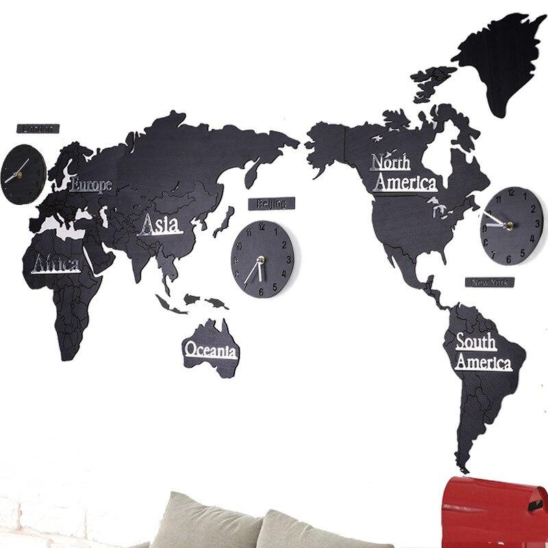 Aqumotic grande carte du monde horloge murale about137cm bricolage acrylique muet horloge multifonction combinaison en bois Sticker mural noir vert
