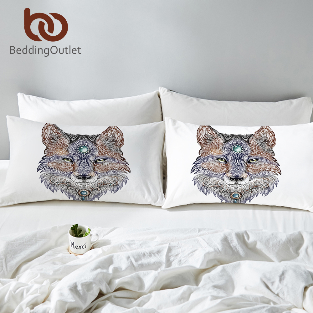 BeddingOutlet Tattoo Head Wolf Wild Beast Pillowcase Noble Animal Print <font><b>Pillow</b></font> <font><b>Case</b></font> Bedding <font><b>Pillow</b></font> Cover 50x75cm <font><b>50x90cm</b></font> image